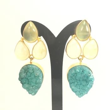 Druzy and Prehanite Earrings