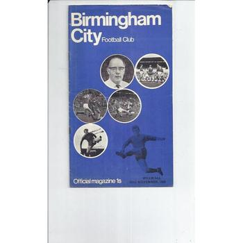 1969/70 Birmingham City v Millwall Football Programme