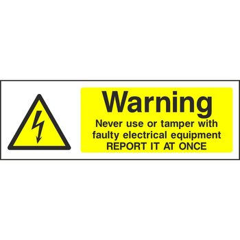 Warning Never use of tamper with faulty electrical equipment REPORT IT AT ONCE