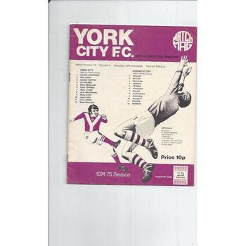 1974/75 York City v Norwich City Football Programme