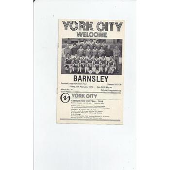 1977/78 York City v Barnsley Football Programme