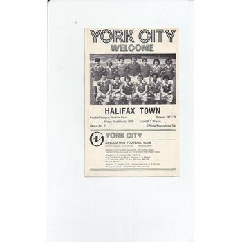 1977/78 York City v Halifax Town Football Programme