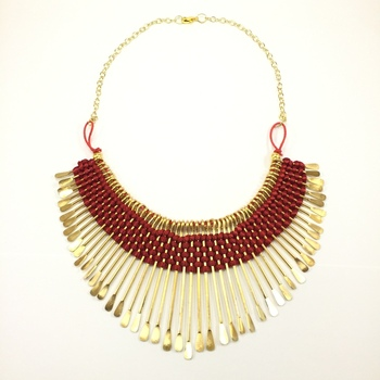 Red Thread Bib Necklace