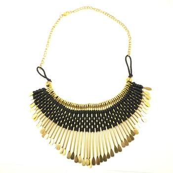 Black Thread Bib Necklace