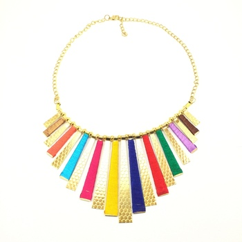 Multicoloured Thread Bib Necklace