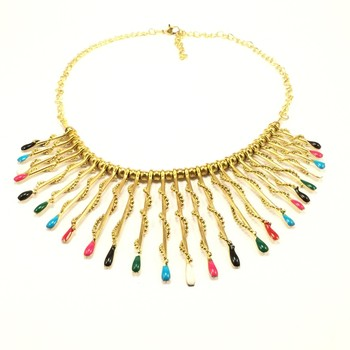 Multicoloured Spiral Bib Necklace