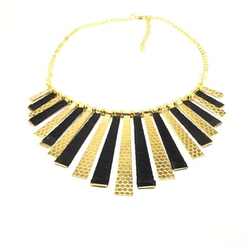 Gold Black Bib Necklace