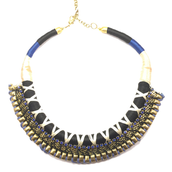 Cord Wrap Blue-Black Necklace