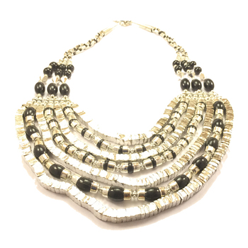 Layered Black Silver Necklace