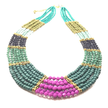 Layered Multicoloured Beads Necklace