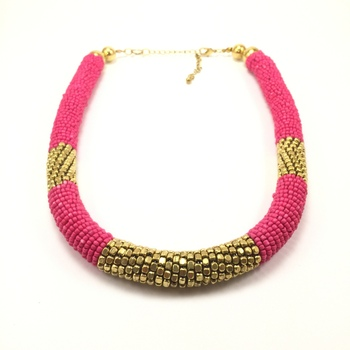 Pink-Gold Bead Rope Necklace