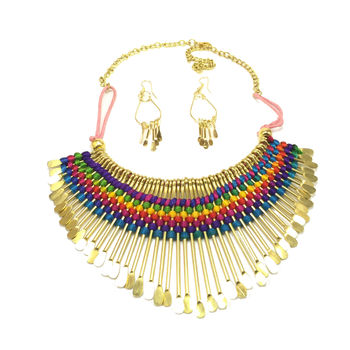 Multicoloured Thread Necklace set