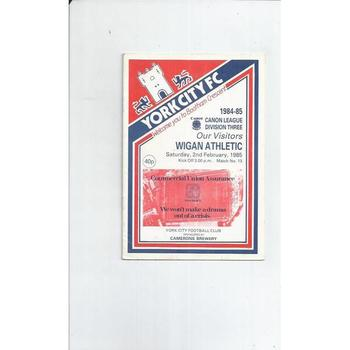 1984/85 York City v Wigan Athletic Football Programme