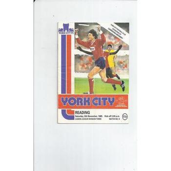 1985/86 York City v Reading Football Programme