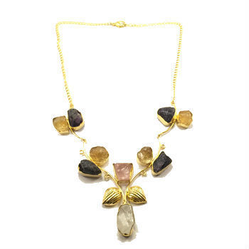 Multicoloured Stone Flower Necklace