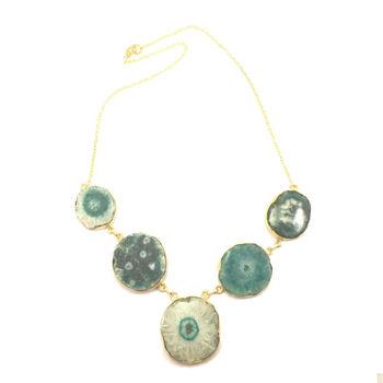 5 Stone Druzy Necklace