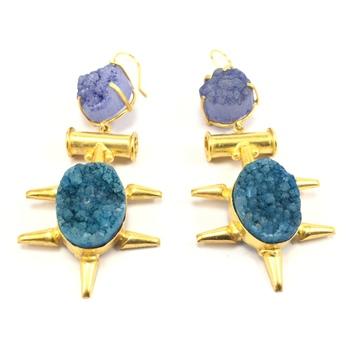Gem Stone Drop Earrings