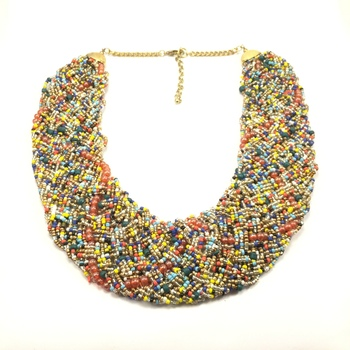 Multicoloured Beads Broad Necklace