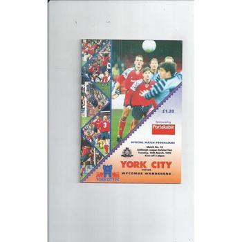 1994/95 York City v Wycombe Wanderers Football Programme