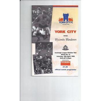 1995/96 York City v Wycombe Wanderers Football Programme