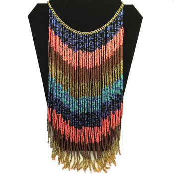 Multicoloured Beaded Tassel Necklace