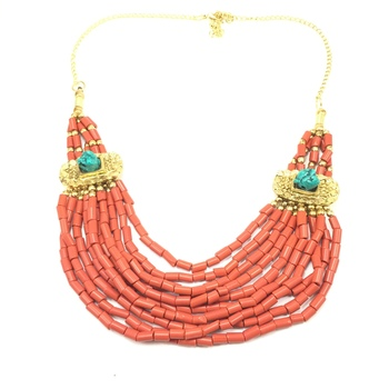 Ethnic Layered Red Necklace