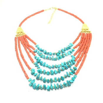 Ethnic Layered Red Green Necklace