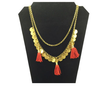 Layered Coin Tassel Necklace