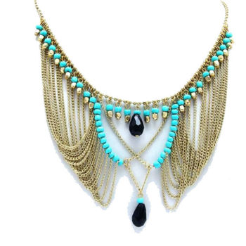 Draped Light Blue Necklace