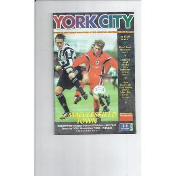 1998/99 York City v Macclesfield Town Football Programme
