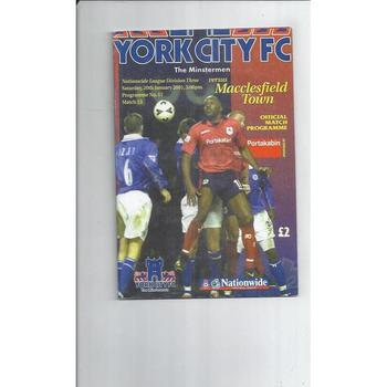 2000/01 York City v Macclesfield Town Football Programme