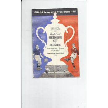 1951 Birmingham City v Blackpool FA Cup Semi Final Football Programme @ Manchester City