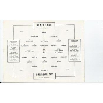 1951 Blackpool v Birmingham City FA Cup Semi Final Replay Football Programme @ Everton