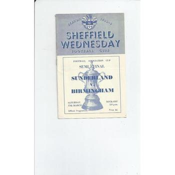 1956 Sunderland v Birmingham City FA Cup Semi Final Football Programme @ Sheffield Wednesday