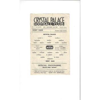 1942/43 Crystal Palace v West Ham United Football Programme