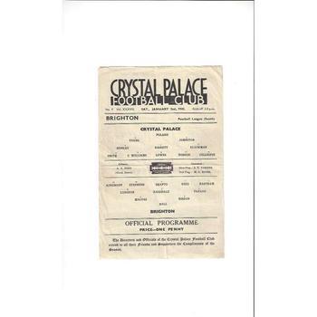 1942/43 Crystal Palace v Brighton Football Programme