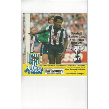 1981/82 West Bromwich Albion v Tottenham Hotspur League Cup Semi Final Football Programme