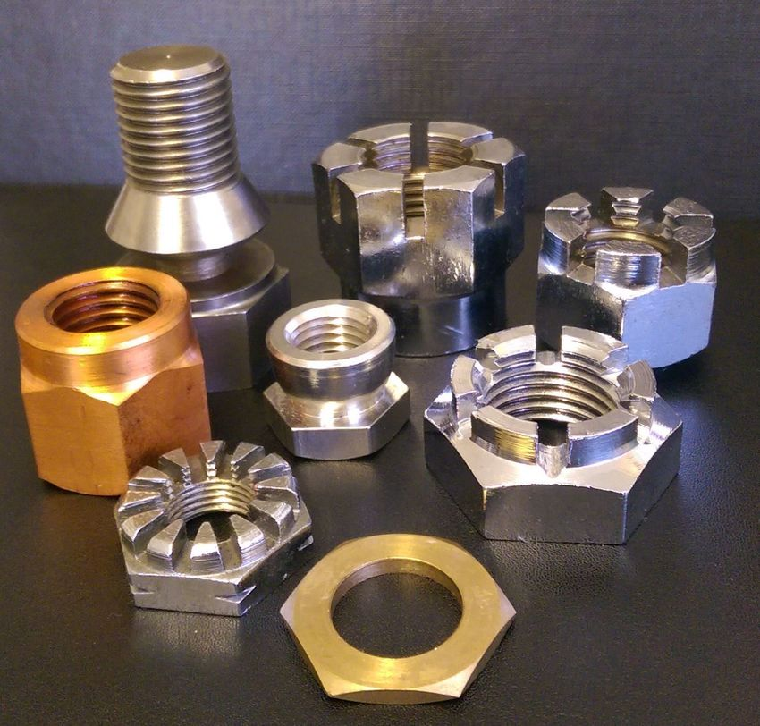 Various Slotted, Castle security nut, flange nut and break off bolt