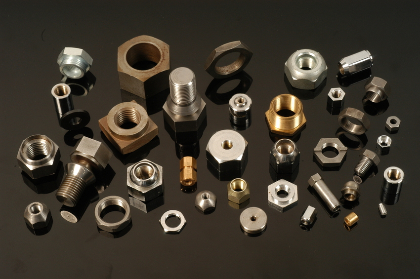 A selection of hex, square and round nuts in various materials which are all manufactured by Trojan Special Fasteners Ltd