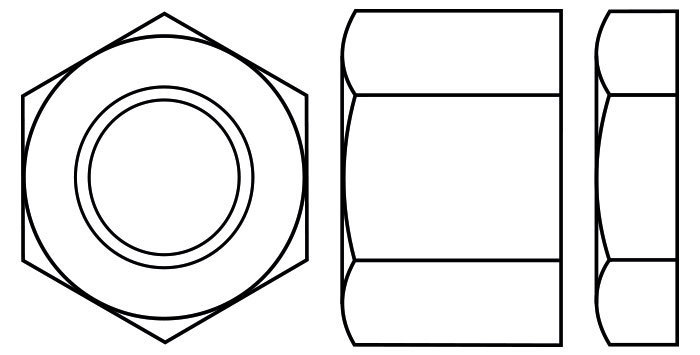 Hexagon Full Nut with a Single Chamfered side also known as a Full bearing Nut