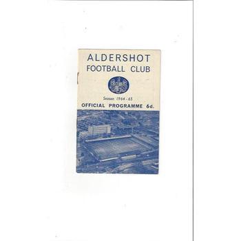 1964/65 Aldershot v Bradford City Football Programme
