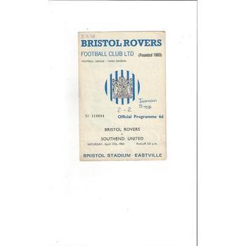 Bristol Rovers v Southend United 1964/65
