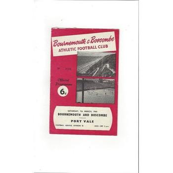 1963/64 Bournemouth v Port Vale Football Programme