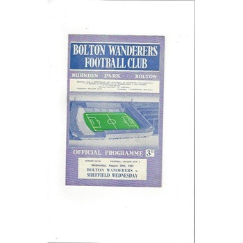 1961/62 Bolton Wanderers v Sheffield Wednesday Football Programme