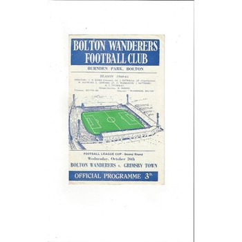 1960/61 Bolton Wanderers v Grimsby Town League Cup Football Programme