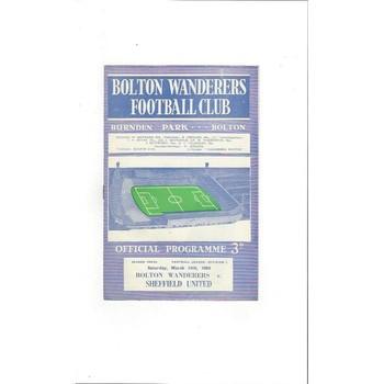 1963/64 Bolton Wanderers v Sheffield United Football Programme