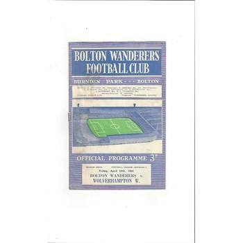 1963/64 Bolton Wanderers v Wolves Football Programme
