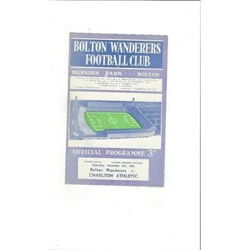 1964/65 Bolton Wanderers v Charlton Athletic Football Programme