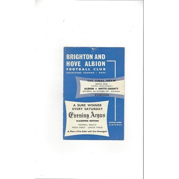 1964/65 Brighton v Notts County Football Programme