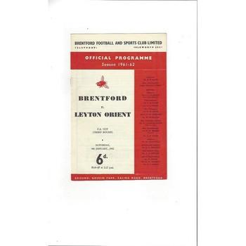 Brentford v Leyton Orient FA Cup 1961/62